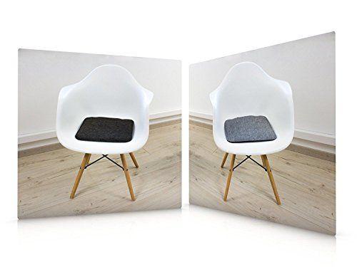 photo Wallpaper of Luxflair-6er Set Filz Sitzkissen In Graumeliert Und Dunkelgrau Zum Wenden, Waschbare Stuhlauflage-Graumeliert/Dunkelgrau
