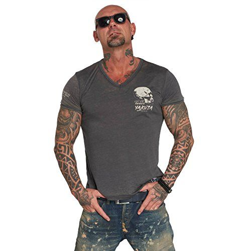 photo Wallpaper of Yakuza-Yakuza Original Herren Burnout V Neck T Shirt-Ebony