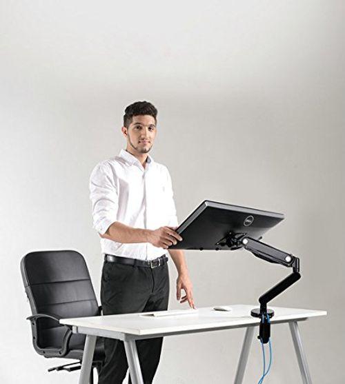 photo Wallpaper of FOINNEX-Gasfeder Monitorarm,FOINNEX Premium Aluminium Monitor Tischhalterung Mit Zwei USB 3.0 Anschlüssen, Für 10