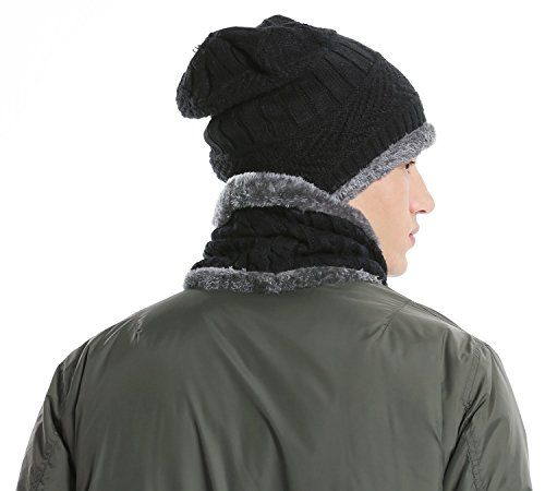 photo Wallpaper of U-Goforst-Herren Wintermütze Warm Beanie Strickmütze Und Schal Mit Fleecefutter Hat Schlauchschal Geschenk-Schwarz