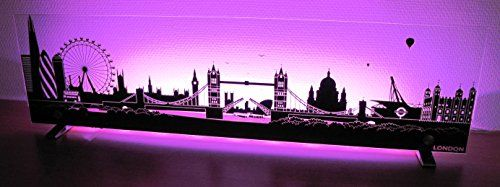 photo Wallpaper of BISCAY-BISCAY LED SKYLINE LONDON Wandleuchte Wandbild RGB Standleuchte Mit FB-