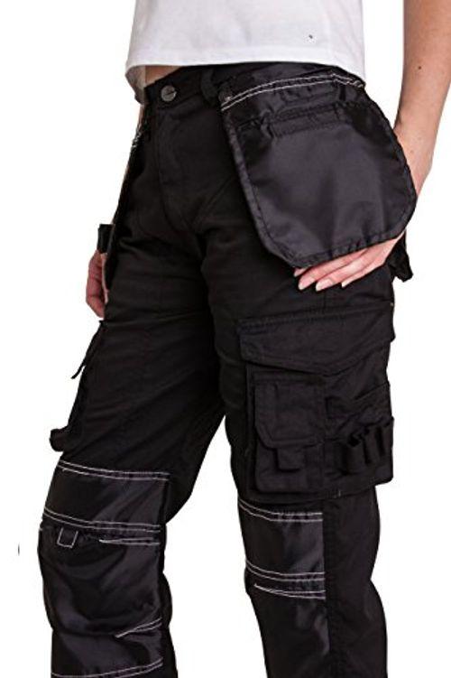 photo Wallpaper of Qaswa-Qaswa Damen Arbeitshose Bundhose Sicherheitshose Arbeitskleidung Berufsbekleidung Schutzhose Arbeitsschutzbekleidung-Black