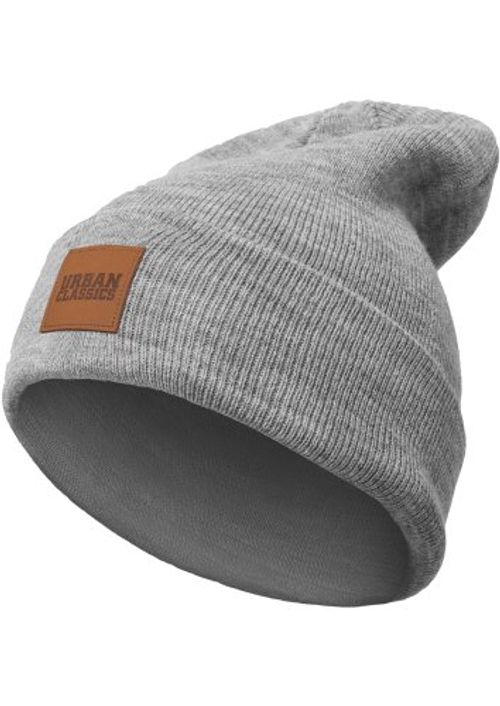 photo Wallpaper of Urban Classics-Urban Classics TB626 Unisex Strickmütze Leatherpatch Long Beanie Grey, One Size (Herstellergröße:-Grey