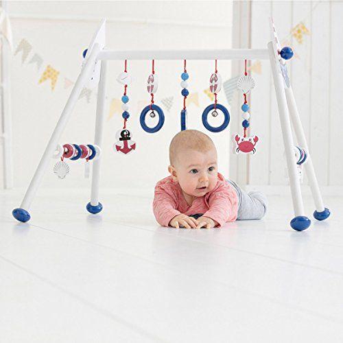 photo Wallpaper of Solini-Solini Spieltrapez Maritim Holz Höhenverstellbar / Spielbogen / Baby Spielzeug / Holzspielzeug Für Babys-Weiß/Blau/Rot