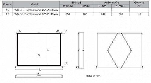 photo Wallpaper of Spalluto-WS GR Tischleinwand, 32 Zoll 4:3, 65x49cm BL-