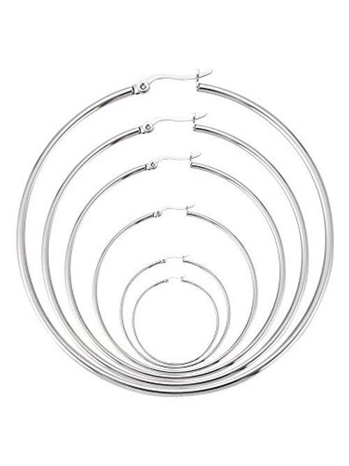 photo Wallpaper of Mudder-6 Paare Edelstahl Ring Ohrringe Set Ohr Hoop Rund Ohr Ringe-
