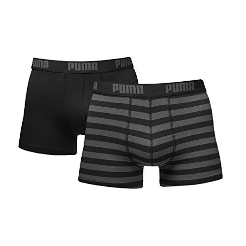photo Wallpaper of Puma-Puma Herren Striped Boxer 2er Pack, Schwarz, M, 651001001-Schwarz