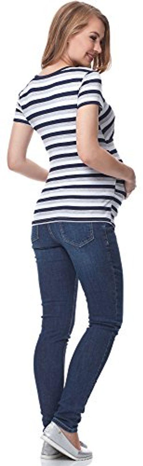 photo Wallpaper of Be Mammy-Be Mammy Damen Umstands Shirt Mit Stillfunktion BE20 151 (Streifen, M)-Streifen