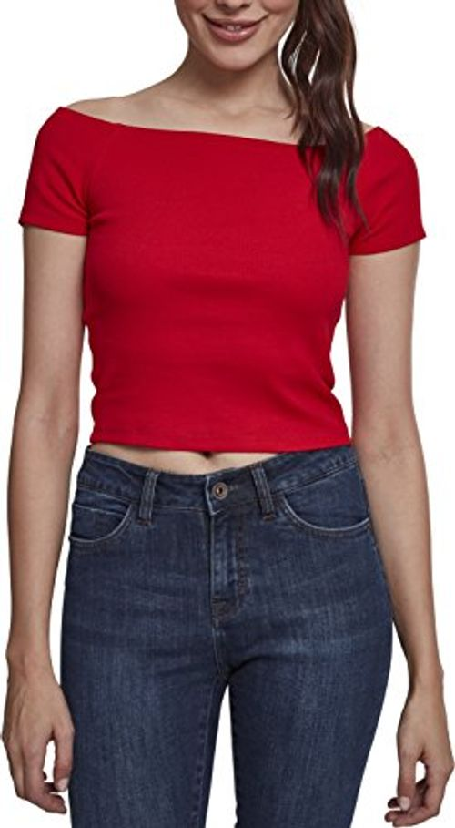 photo Wallpaper of Urban Classics-Urban Classics Damen T Shirt Ladies Off Shoulder Rib Tee,-Rot (Fire Red 00697)
