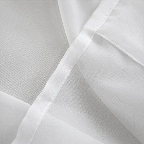 photo Wallpaper of Deconovo-Deconovo Vorhang Transparent Gardinen Transparent Schlaufenschal Transparent 175x140 Cm Weiß 2er Set-Weiß 2er Set