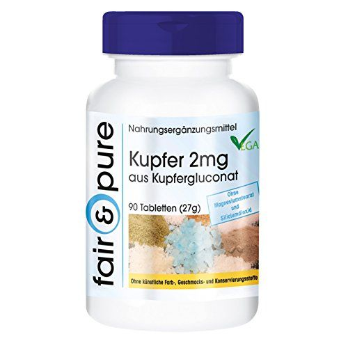 photo Wallpaper of Fair & Pure-Kupfer 2mg, Kupfergluconat, Vegan, Ohne Magnesiumstearat, 90 Kupfer Tabletten, Kupfer Nahrungsergänzung Zum Einnehmen-