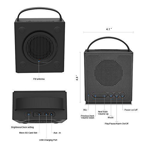 photo Wallpaper of Dprofy-Radiowecker Bluetooth Lautsprecher Kabellose Digital   Dimmbare LED Uhr-black