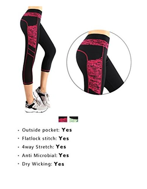 photo Wallpaper of Munvot-Munvot Kompression Damen Hohe Taille Sport Leggings   TUMMY CONTROL-Rot / Schwarz (Tech Mesh)