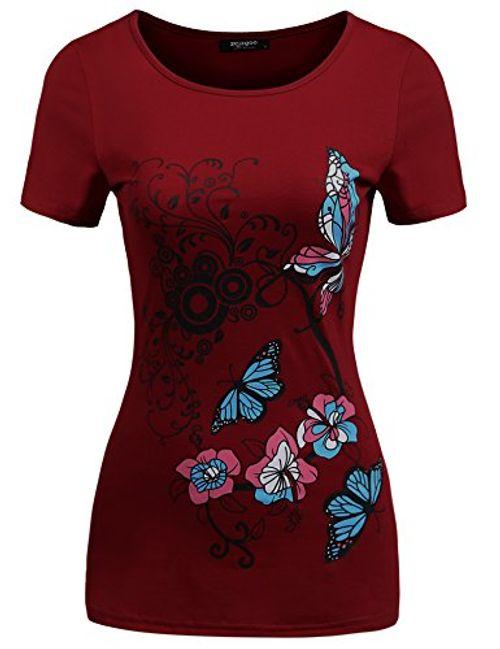 photo Wallpaper of Zeagoo-Zeagoo Damen Schmetterling Druck Kurzarm T Shirt Blumen Top Floral Bluse-Weirnrot