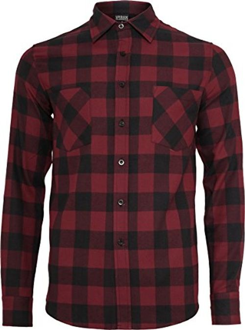photo Wallpaper of Urban Classics-Urban Classics TB297 Herren Regular Fit Freizeit Hemd Checked Flanell-Blk/Burgundy