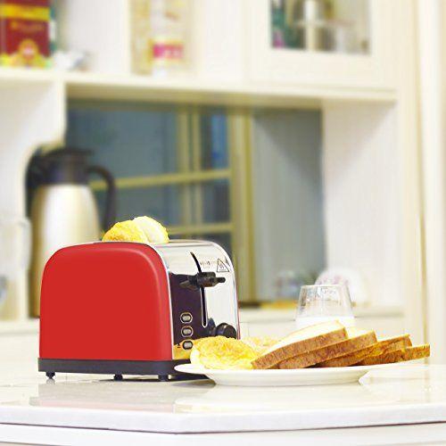 photo Wallpaper of LATITOP-LATITOP Rot 2 Scheiben Toaster Mit Breiter Steckplatz, Edelstahl Toaster Mit Herausnehmbarem-Red