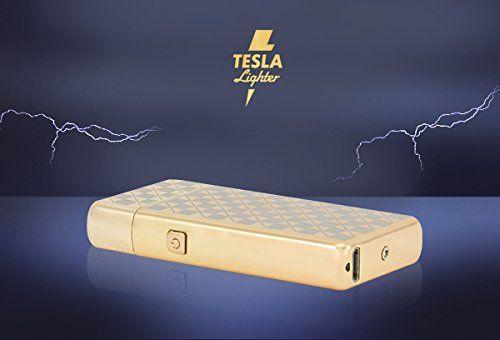 photo Wallpaper of TESLA Lighter-TESLA Lighter T05 | Lichtbogen Feuerzeug, Plasma Double Arc, Elektronisch Wiederaufladbar,-Gold-kariert