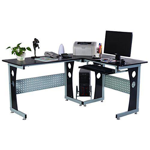 photo Wallpaper of FDS-Computertisch PC Computerschreibtisch Freizeittisch Schreibtisch Bürotisch Arbeitstisch PC Tisch Eckschreibtisch Winkelschreibtisch-schwarz
