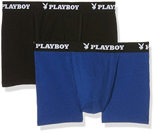photo Wallpaper of Playboy-Playboy 40H040, Calzoncillos Para Hombre, Multicolor (Noir/Bleu), Medium, Pack De 2-Multicolor (Noir/Bleu)