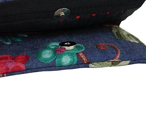 photo Wallpaper of Plan B Creaciones-GELDBÖRSE Plan B RFID SPRING –Kontaktlose Karte Proteccion. Multifunktionale Geldbörse, Portemonnaie, Steckplätze Für-Blauer Hintergrund mit Gestickten Blumen