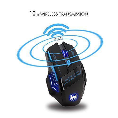 photo Wallpaper of ECHTPower-ECHTPower Gaming Funkmaus, LED 7D Optical 2400DPI 2.4G Wireless Gaming Maus Gaming Mouse-Kabellos 2400dpi