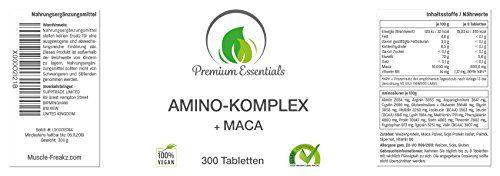 photo Wallpaper of Premium Essentials-Amino Komplex + Maca, 300 Tabletten á 1000mg (Vegan), Alle 18 Aminosäuren Inkl. Aller-