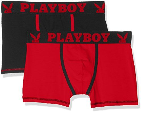 photo Wallpaper of Playboy-Playboy 40H041, Calzoncillos Para Hombre, Multicolor (Noir Rouge/Rouge), Medium, Pack De-Multicolor (Noir Rouge/Rouge)