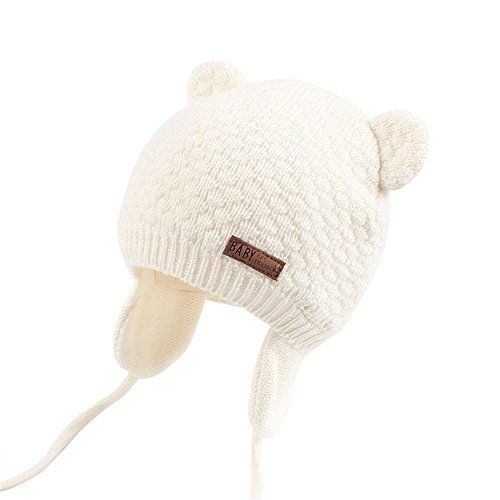 photo Wallpaper of JOYORUN-Unisex   Baby Mütze Beanie Strickmütze Unifarbe Wintermütze JOYORUN-Weiß