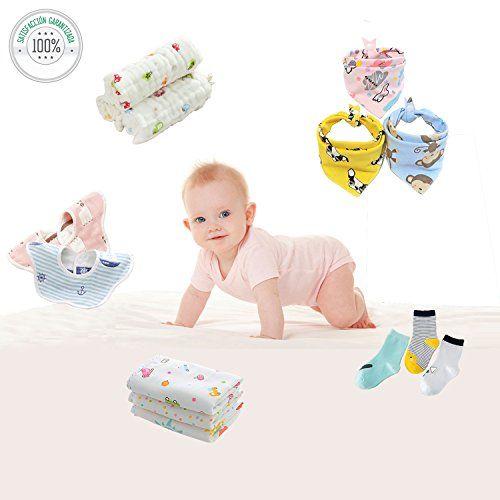 photo Wallpaper of Celyc-Pack Para Recién Nacidos Y Bebés 5pcs Baberos+6pcs Pañuelos(Muselinas/Toalla)+3pcs Calcetines,Unisex,Suave,Cómodo,Agradable-