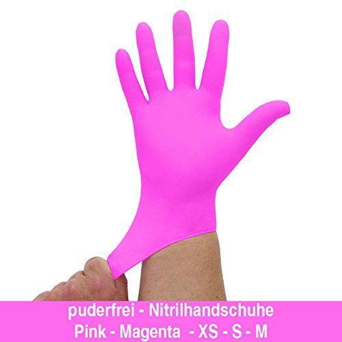photo Wallpaper of Kosmetex-Nitrilhandschuhe Kräftiges Pink Magenta, Einmalhandschuhe, Einweghandschuhe, 100 Stück, Größe M-Rosa