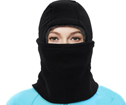 photo Wallpaper of BACKSPORT-BACKSPORT Damen Herren Balaclava Sturmhaube Schalmütze Maske Mütze Wintermütze Ski Radfahren Warm Gefüttert (#B-#B Schwarz