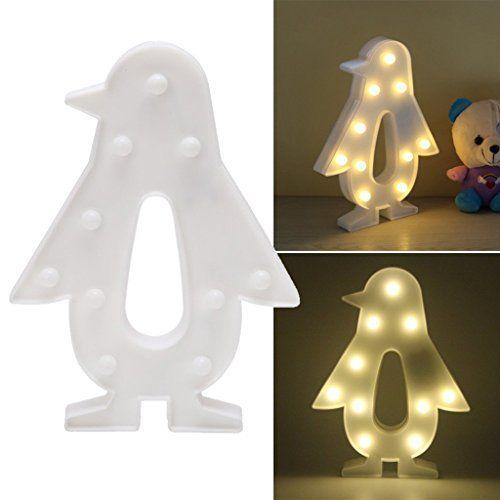 photo Wallpaper of REKYO-REKYO Laufschrift LED Nachtlicht, Niedlichen LED Lampen An Wand, Raum Dekoratives Licht, Tisch Lampe-Pinguin