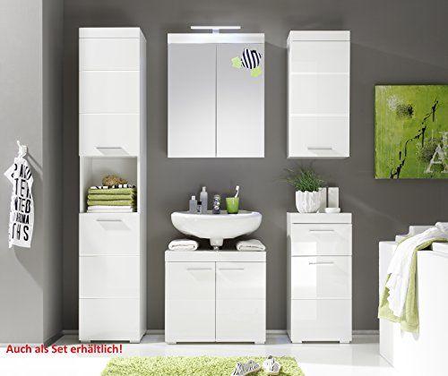 photo Wallpaper of Trendteam-Trendteam 1393 301 01, Badezimmer Waschbeckenunterschrank Unterschrank Amanda, 60 X 56 X 34-Weiß Hochglanz