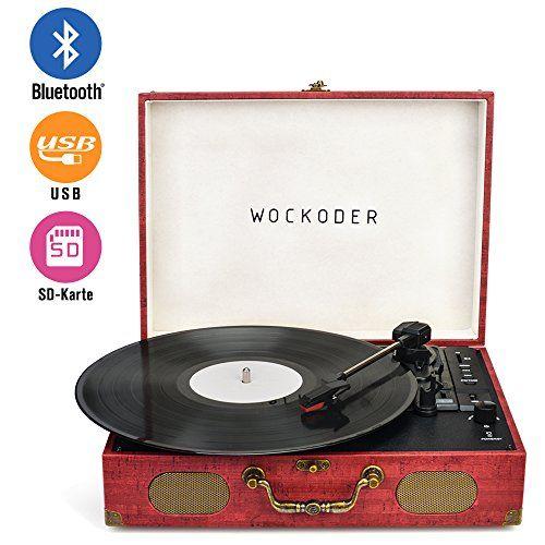 photo Wallpaper of WOWOTO-Wockoder Turntable Vinyl Plattenspieler Koffer Vintage Retro Bluetooth USB Nostalgie Schallplattenspieler Mit Lautsprecher Riemenantrieb-Dunkel Rot