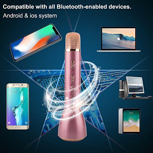 photo Wallpaper of Magift-Bluetooth Mikrofon, Drahtlos Karaoke Mikrofon Batterie Mikrofon Kabellos Anlage Mit Lautsprecher Für-Rosa