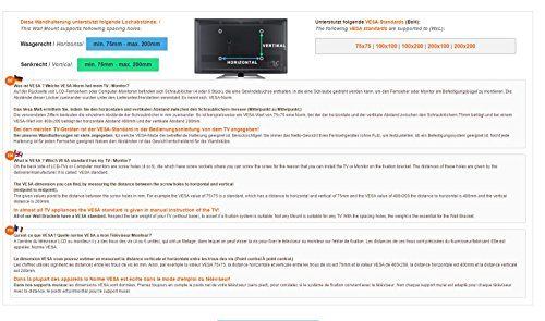 photo Wallpaper of RICOO-RICOO Monitor Halterung Monitorhalterung Wand S3522 Schwenkarm TFT TV Wandhalterung-Modell S3522 / VESA 200x200