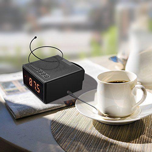 photo Wallpaper of Dprofy-Radiowecker Bluetooth Lautsprecher Kabellose Digital   Dimmbare LED Uhr Mit-black