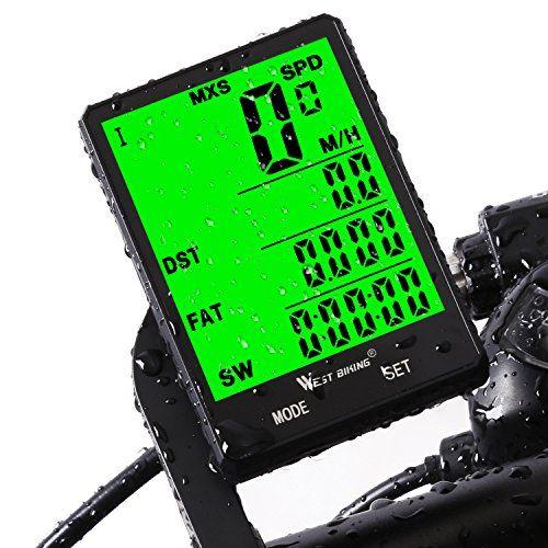 photo Wallpaper of West Biking-Fahrradcomputer, Bike Kilometerzähler TACHO Für Fahrrad, Kabellos Wasserdicht Große LCD Automatische-Wireless-Black