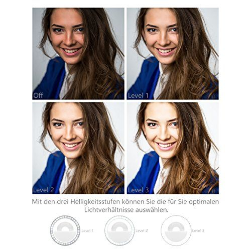 photo Wallpaper of MyGadget-MyGadget Handy Selfie Licht   3 Level Ringlicht USB-Weiß