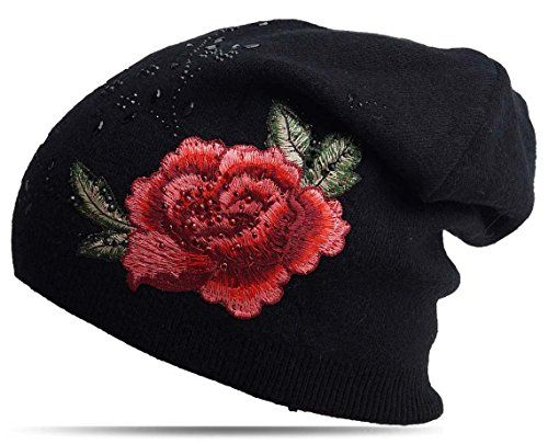 photo Wallpaper of Fashionshine24-Damen Wintermütze Beanie Slouch Fein Strickmütze Doppel Stoff Strass Verzierung-Schwarz