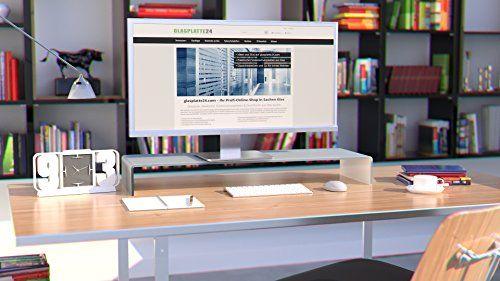 photo Wallpaper of DURATABLE-DURATABLE® TV Glasaufsatz Glastisch LCD Tisch Aufsatz Monitorerhöhung Fernsehtisch Glas Schrankaufsatz-Superweiß