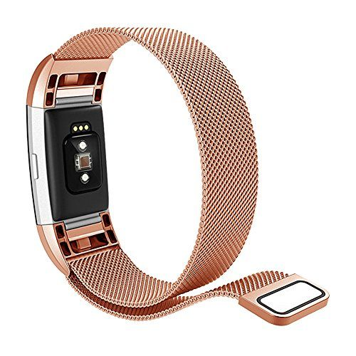 photo Wallpaper of Hanlesi-Hanlesi Fitbit Charge 2 Armband, Edelstahl Armbanduhren Watch Band Fitness Für Fitbit Charge 2-silber + roségold
