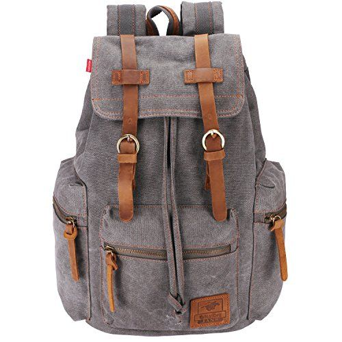 photo Wallpaper of BESTOPE-Canvas Vintage Rucksäcke BESTOPE Damen Herren Schulrucksack Retro Backpack Für Campus Studenten Und Outdoor-Grey