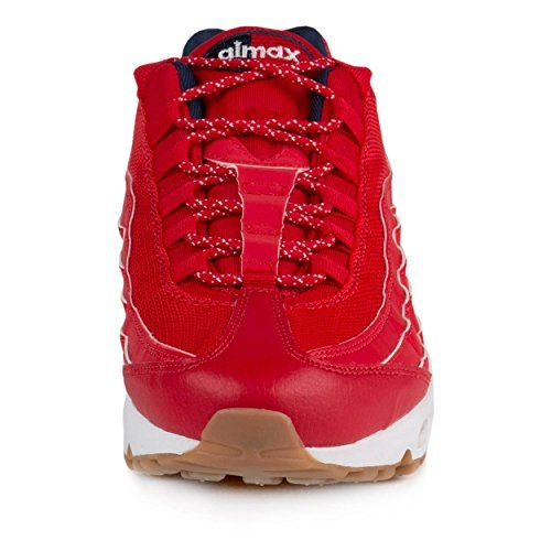 photo Wallpaper of Nike-Nike Mens Air Max 95 Prm 4th Of July University Red/White Mid Navy Leather-University Red/White-mid Navy