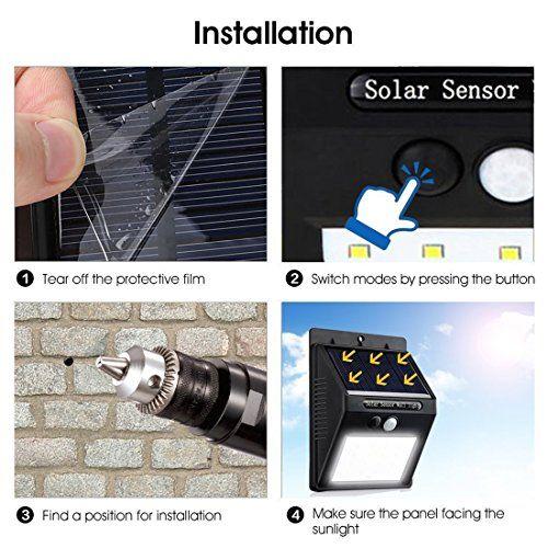 photo Wallpaper of KAINI-Solarleuchten Für Aussen Bewegungsmelder 20LEDs Solar Lampe Kabelloses Wasserfest Sicherheitslicht Solarlicht Für-4-pack