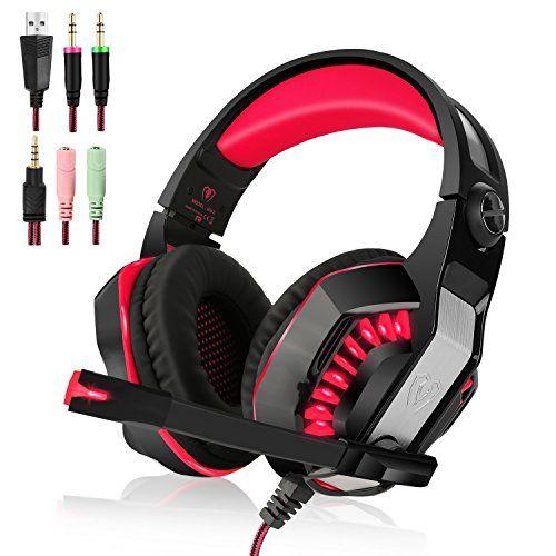 photo Wallpaper of PECHAM-Xbox Ein PS4 Kopfhörern Gaming Kopfhörer Headset Kopflautsprecher Mit Mikrofon-Rot