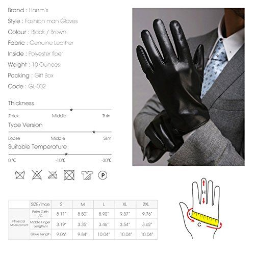 photo Wallpaper of Harrms-Harrms Herren Winter Handschuhe Aus Echtem Leder Touch Screen Gefüttert Aus Kaschmir Lederhandschuhe,mit Geschenk-Schwarz