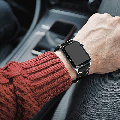 photo Wallpaper of MroTech-Armband Für Apple Watch, MroTech Leder Armband Vintage Uhrenarmband Für Apple-weiches Leder-Schwarz