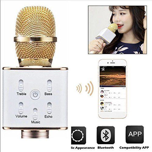 photo Wallpaper of chenyd118-Tragbares, Schnurloses Bluetooth 4.0 Q7 Karaoke Mikrofon, Mit 2600 mAh Akku, 2 In-gold