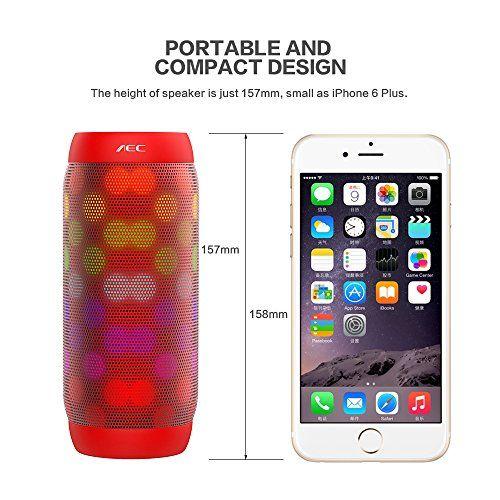 photo Wallpaper of Life-Plus-LED Lautsprecher, HUMTUS Wireless Bluetooth Lautsprecher, HIFI Lautsprecher Tragbarer Stereo Lautsprecher-Rot